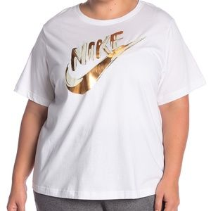 Nike Gold Metallic Logo Tee Plus Size 3X NWT